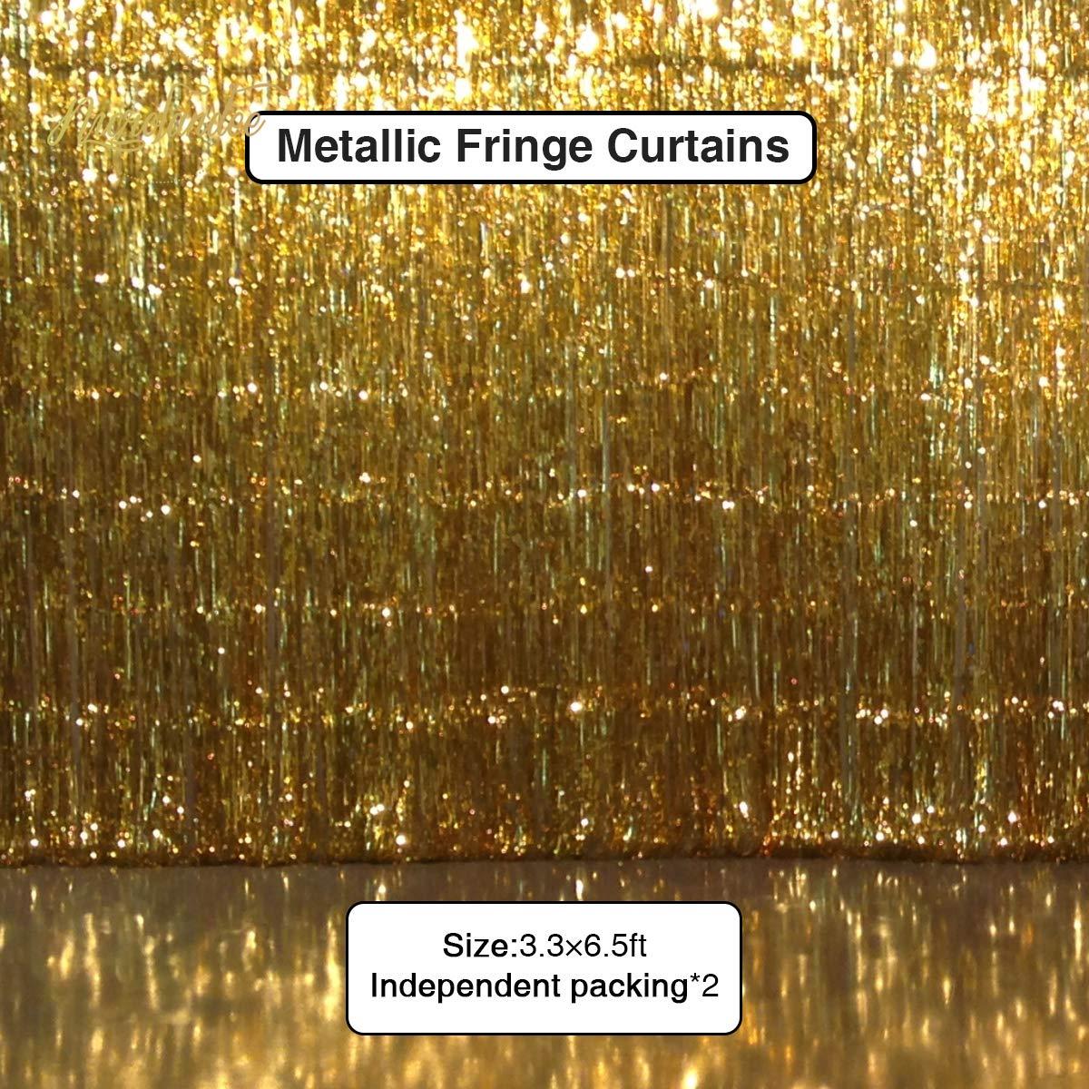 NICROLANDEE Black Gold Metallic Glitter Paper Lantern Decorations with Gold Foil Metallic Fringe Curtains for Graduation Wedding Bridal Shower Hen Bachelorette Birthday Anniversary Backdrop Decor by NICROLANDEE (Image #5)