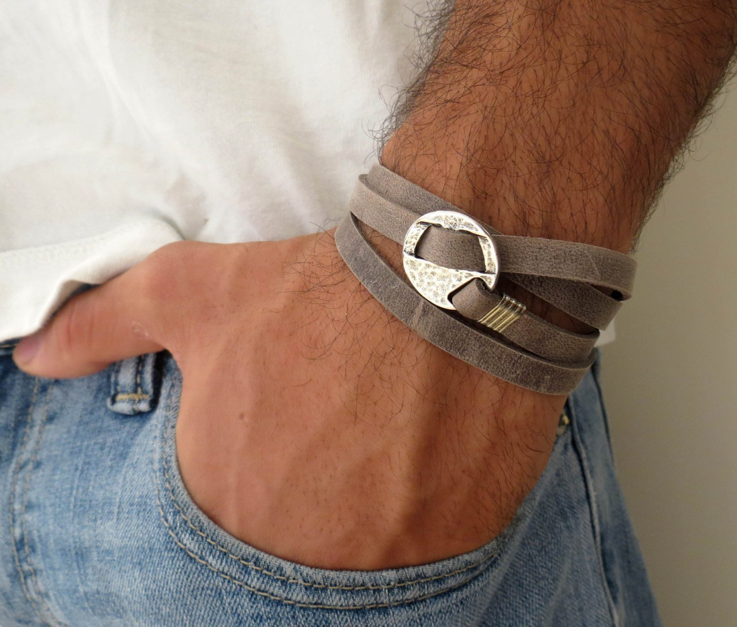 Handmade Wrap Gray Genuine Leather Bracelet For Men Set With Silver Plated Circle Pendant By Galis Jewelry - Geometric Bracelet For Men - Gray Bracelet For Men - Jewelry For Men