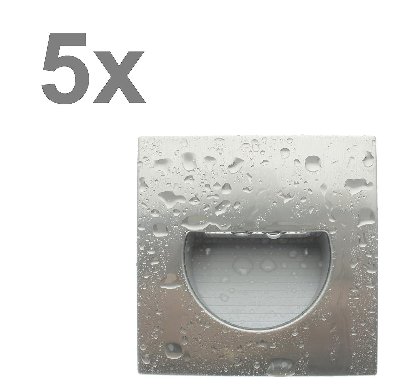 Trango 5er Pack LED Treppenbeleuchtung Wandstrahler Orientierungslicht in eckig 3000K warm-weiß IP44 - Edelstahl-Look 5TGSL16s