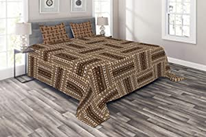 Ambesonne Traditional Coverlet, Ornamental in Earth Tones Folk Bohemian Geometric Influences, 3 Piece Decorative Quilted Bedspread Set with 2 Pillow Shams, Queen Size, Brown Caramel