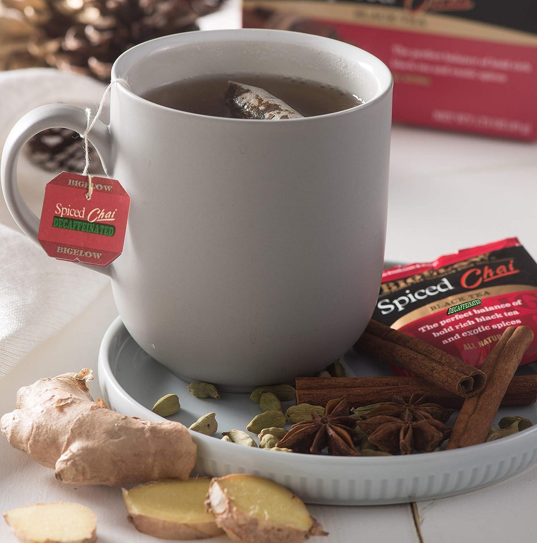 Bigelow Decaffeinated Spiced Chai Tea Boxes, Caffeinated Individual Black Tea Bags