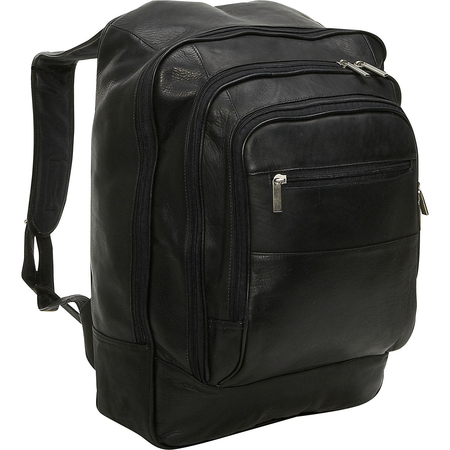 David King Leather Oversized Laptop Backpack in Black by David King & Co