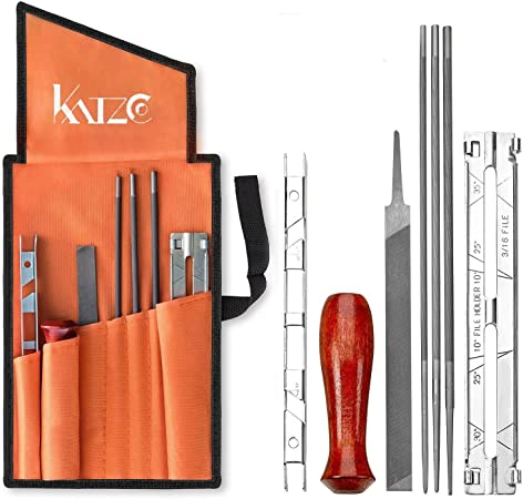 Chain Saw Sharpening Kit Chainsaw File Tool Set Guide Bar File W// Carrying Pouch