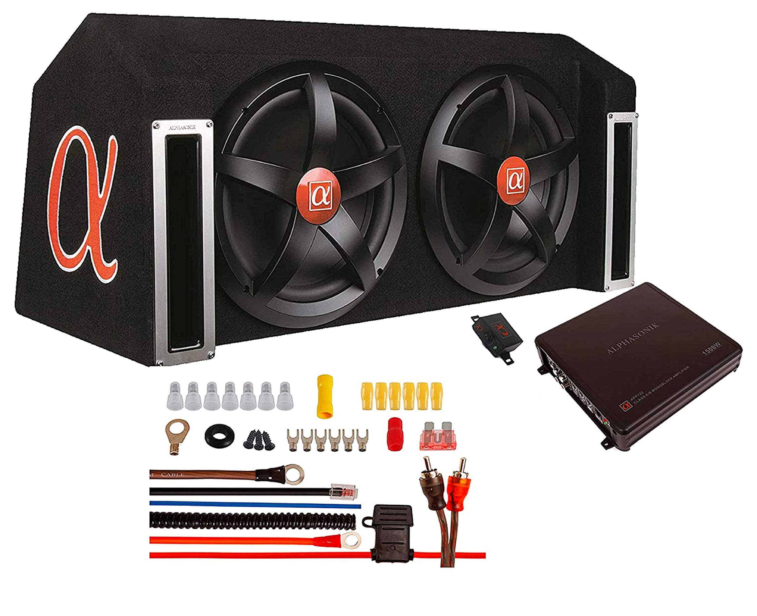 """ALPHASONIK APP122 Complete 1500 Watts Dual 12"""" Subwoofers Car Bass Package with Amplifier and Installation Kit Included - 2 Sub Woofers with Grills in Custom Ported Box Loaded Enclosure, Black"""