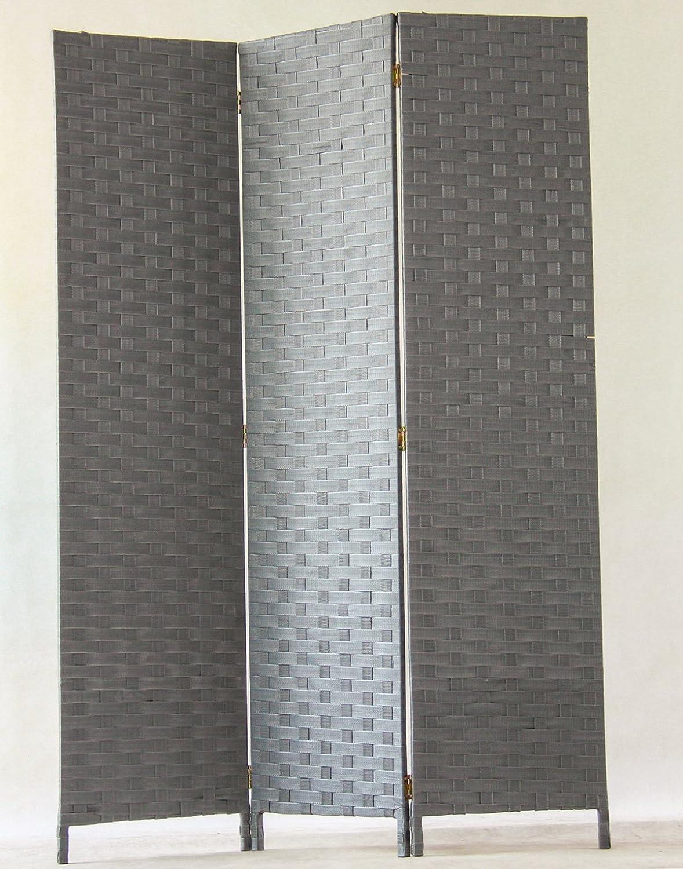 Tinta Grigia Dim A170 x L120 cm PEGANE Paravento di 3 Pannelli in Fibre Sintetiche