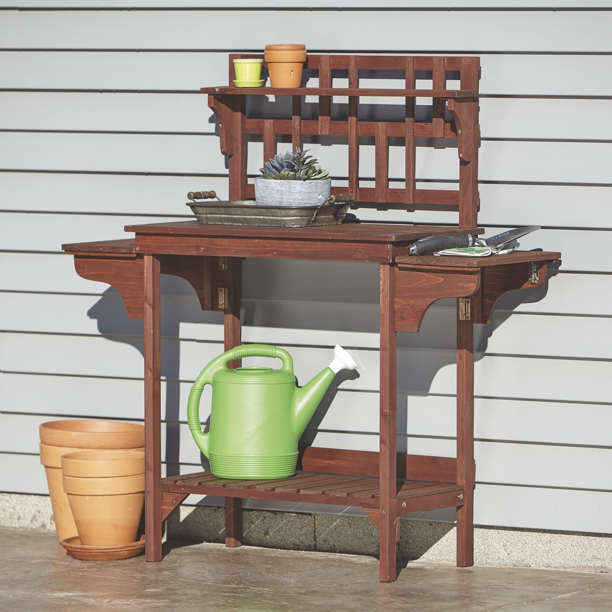 Wood Potting Bench with Storage — Brown by Kotulas