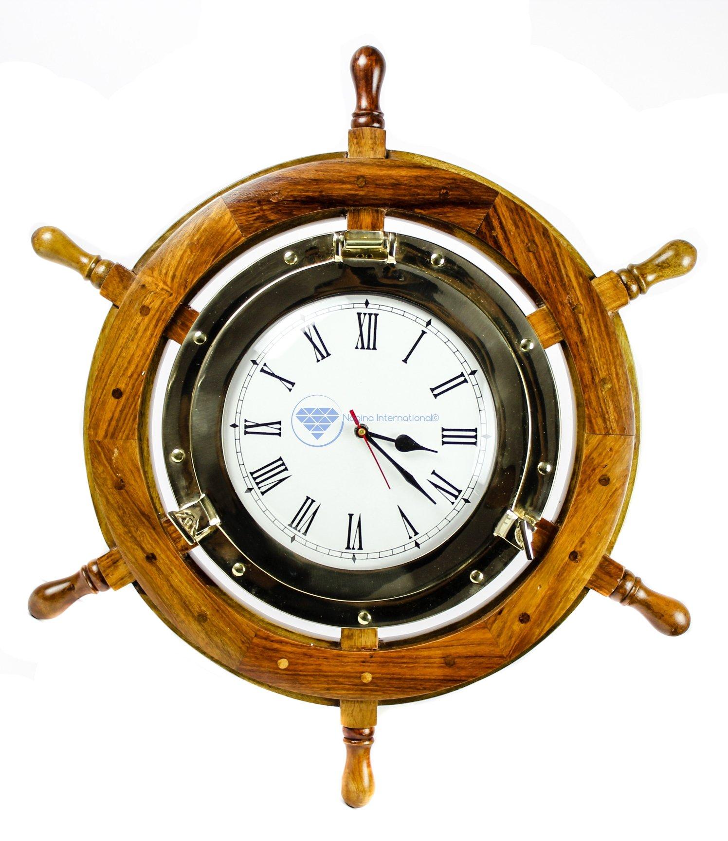 Brass Nautical Full Porthole Tim'es Clock Ship Wheel   Pirate's Maritime Vintage Gift   Nagina International (36 Inches)