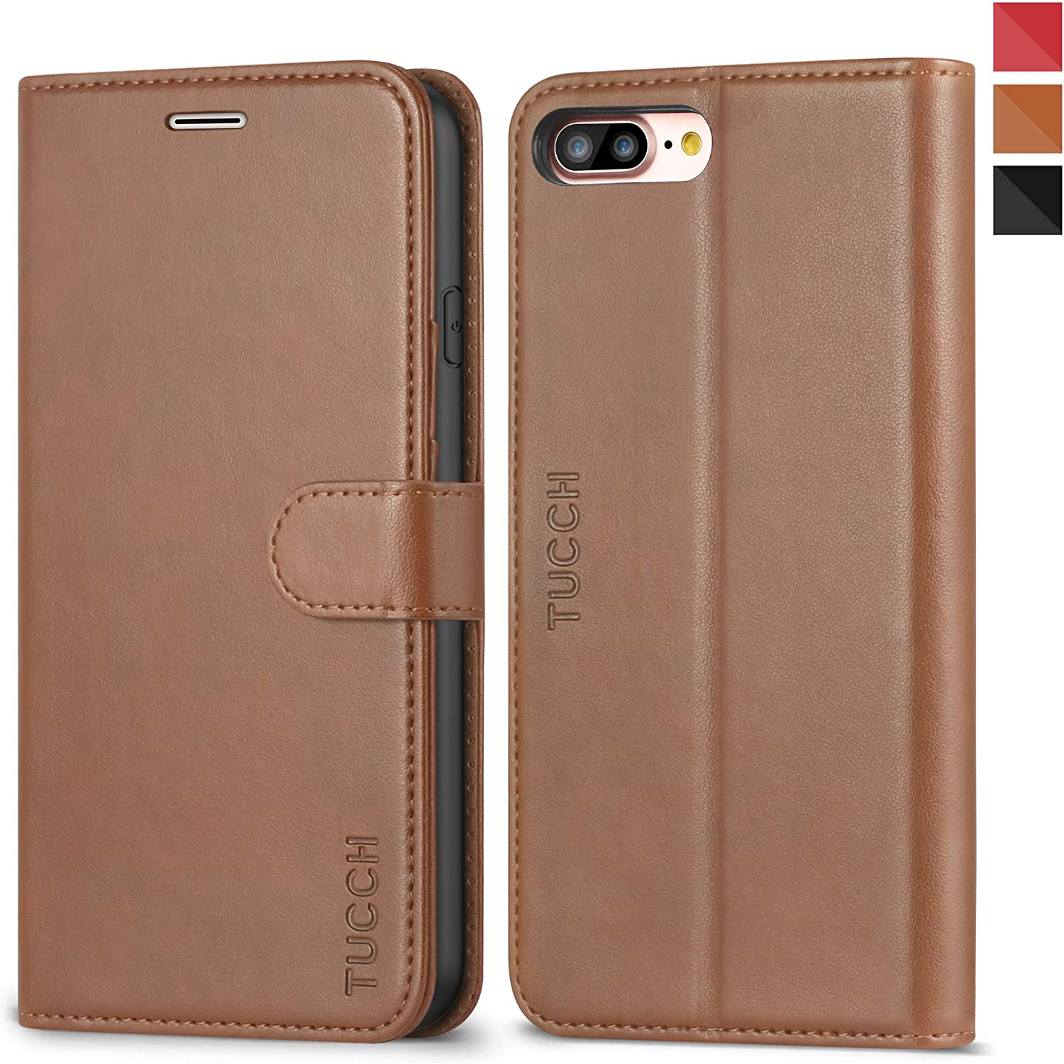 TUCCH iPhone 8 Plus Wallet Case, iPhone 7 Plus Case, Leather Wallet Phone Case [Card Slot] [Flip] [Wallet] [Stand] Carry-All Case Compatible iPhone 8 Plus/7 Plus 5.5 Inch, Brown