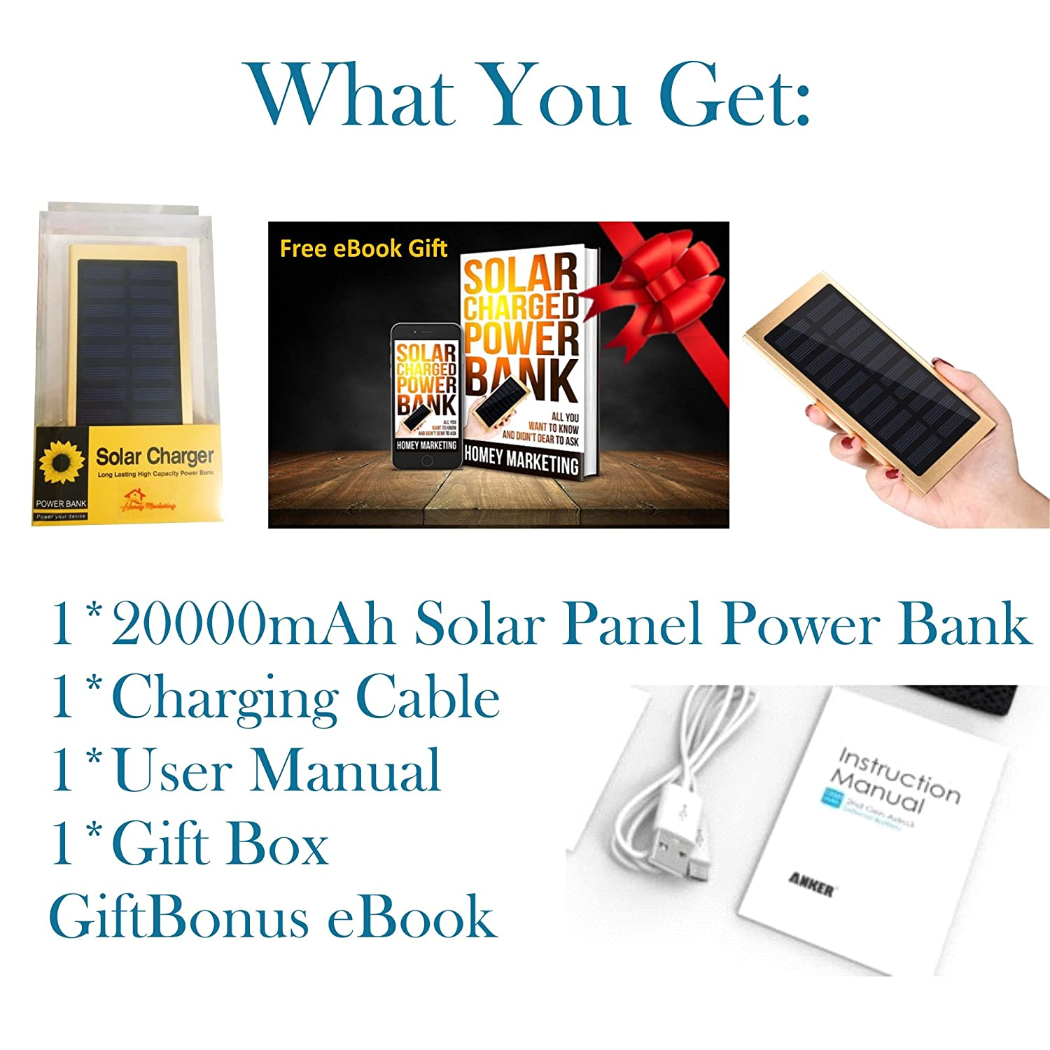 amazon com solar charger power bank 20000mah keep you charged and