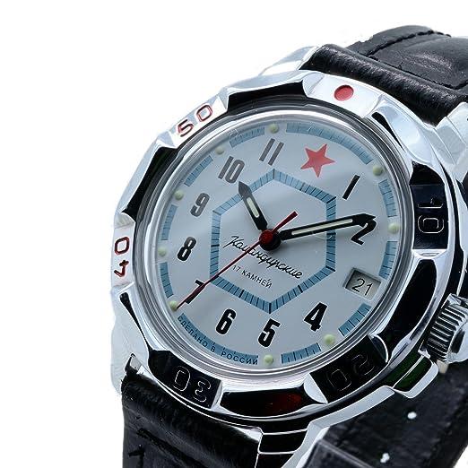Vostok KOMANDIRSKIE 431719/2414 a Militar ruso reloj fuerzas especiales blanco estrella roja: Amazon.es: Relojes