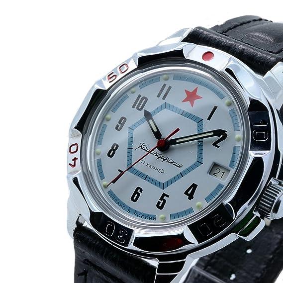 Vostok KOMANDIRSKIE 431719/2414 a Militar ruso reloj fuerzas especiales blanco estrella roja