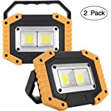 UNIKOO Rechargeable Work Light COB 30W 1500LM, Waterproof LED Portable Flood Light for Outdoor Camping Hiking Emergency Car Repairing Fishing(W840Y-2PACK)