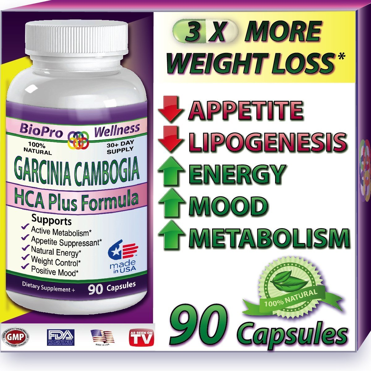 Best Fat Burner, Appetite Control, Metabolism Boost Weight Loss Management Formula, Pure Garcinia Cambogia Extract HCA, 3000mg That Work FAST for men women STRONG EXTREME Flat Belly Natural Diet Pill by BioProWellness