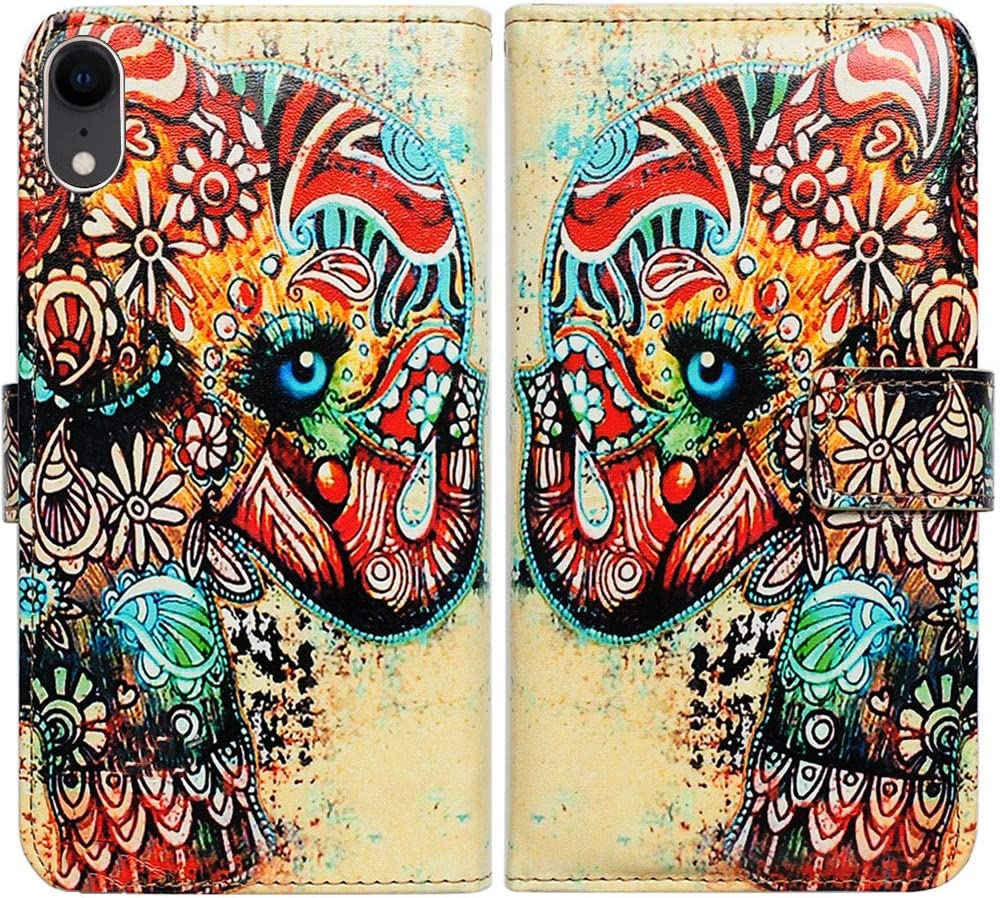 iPhone XR Case,Bcov Tribal Floral Elephant Flower Wallet Leather Cover Case with ID Credit Card Slot Holder Money Pocker for iPhone XR Case
