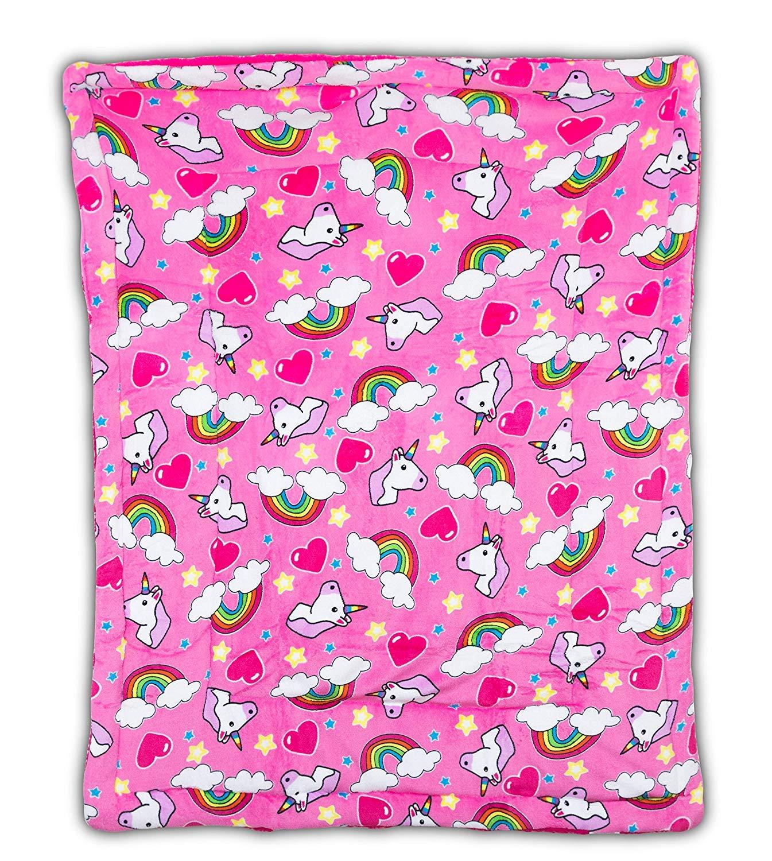 ファンシーリネン フェイクファー フランネル ボレゴ ソフトベビースローブランケット シェルパ裏地 暖かく快適 ベビーカーまたは幼児用ベッドブランケット 40インチx50インチ  Unicorn Pink B07MZJ1YTW