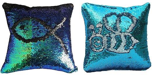 2 colores reversible, diseño de sirena de lentejuelas fundas ...