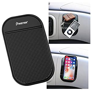 "INSTEN Anti-Slip Car Dash Sticky Gel Pad Non-Slip Universal Mount Holder Mat 5.7"" x 3.5"" Compatible with Keychains/Cell Phone/iPhone X/XS/XS Max/XR/8 Plus/7/6S/Samsung Galaxy S10/S10 Plus/S10e/S9/S9+"