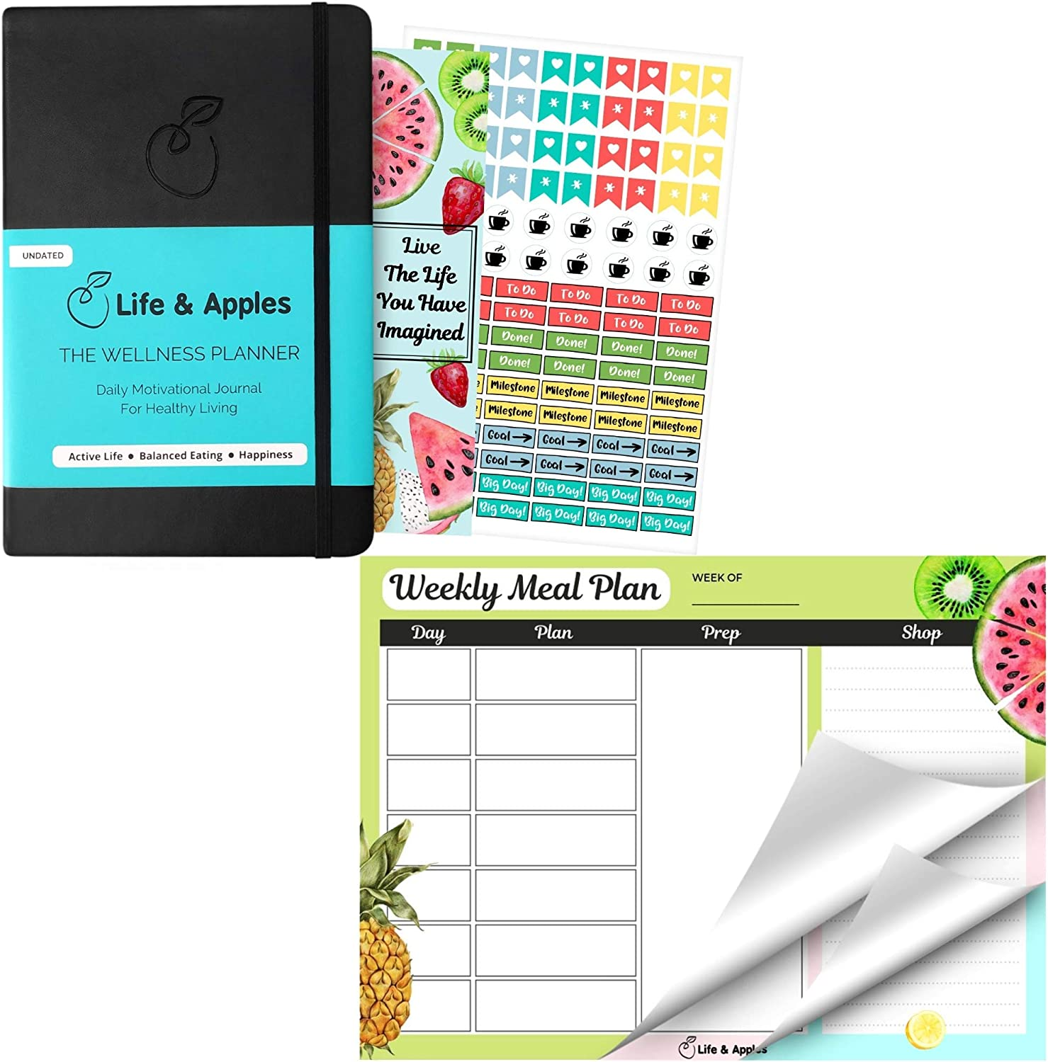 Life & Apples Wellness Planner and Weekly Meal Planner Pad Bundle