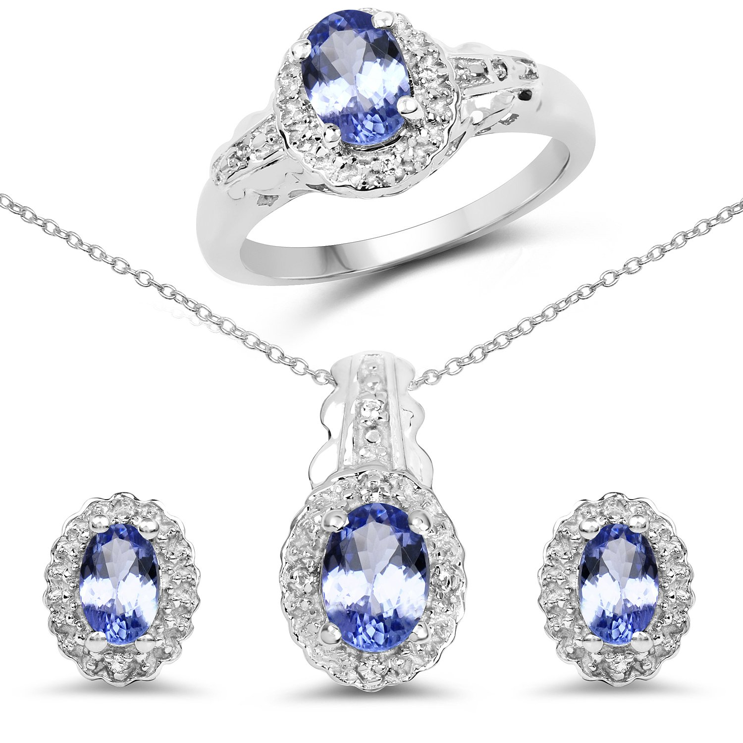 2.40 Carat Genuine Tanzanite & White Topaz .925 Sterling Silver Ring, Earrings & Pendant Set