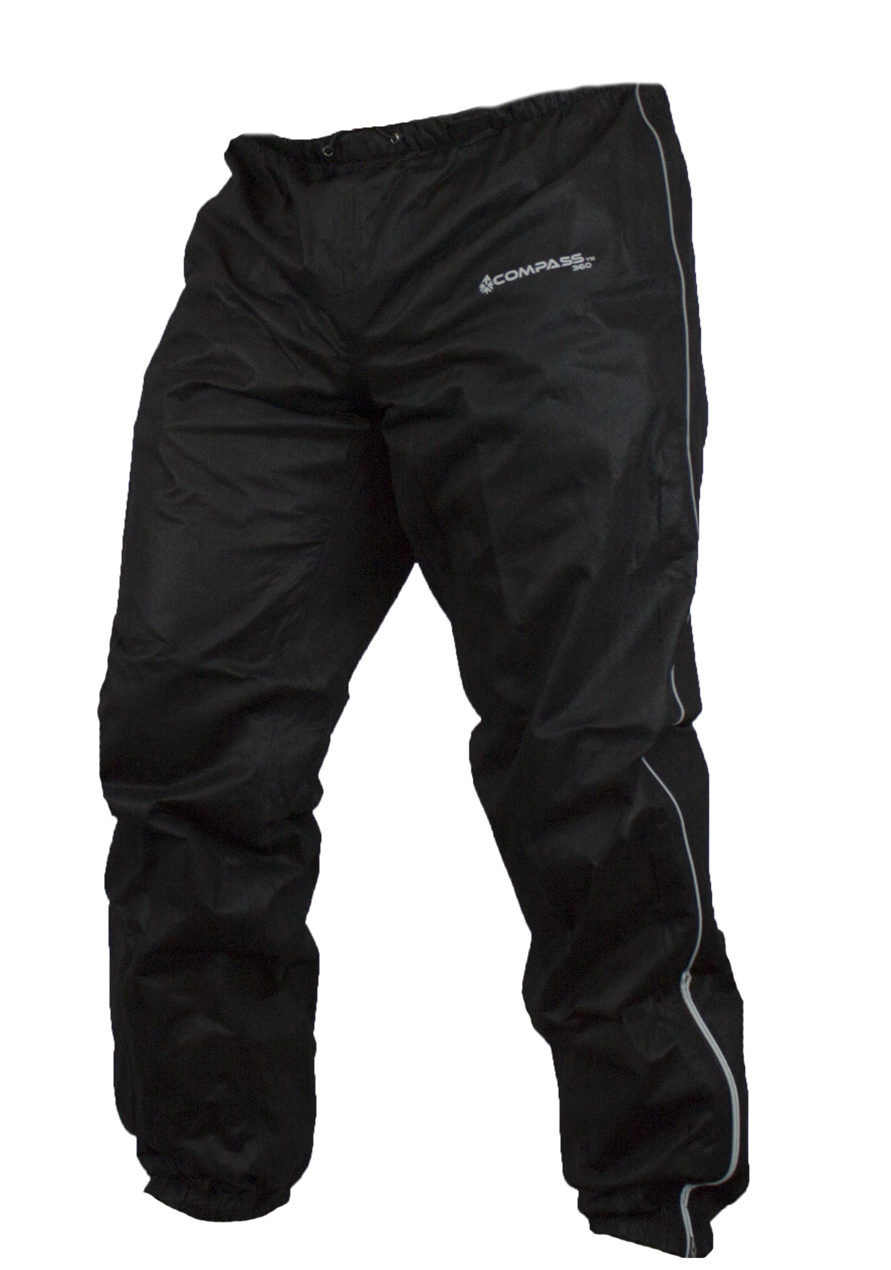 COMPASS 360 Roadtek Reflective Riding Rain Pants, X-Large, Black