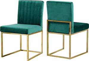 "Meridian Furniture Giselle Collection Modern | Contemporary Velvet Upholstered Dining Chair with Durable Metal Base, Set of 2, 18"" W x 22"" D x 32"" H, Green"
