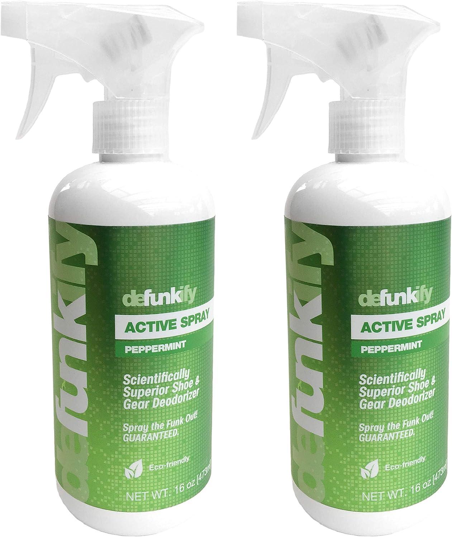 Defunkify Natural Shoe Deodorizer Spray, Odor Eliminator for Smelly Feet & Shoes, Gym Bag Deodorizer, Active Wear Instant Odor Remover - Organic Essential Oils + Ionic Sliver - Mint 16 FL (2PK)