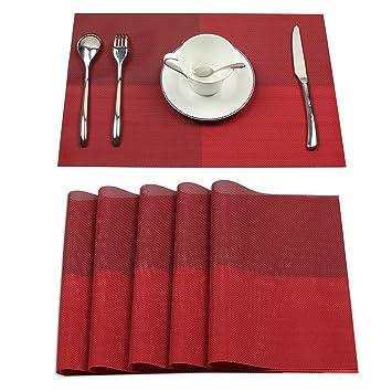 Borlans Sets De Table Lavables Pvc Napperons Pour Diner Antiderapant