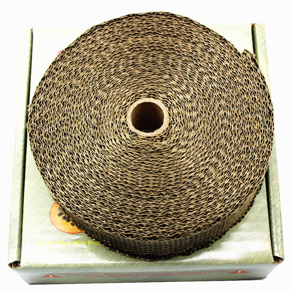 LEDAUT 2'' x 50' Twill Weave Motorcycle ATV Titanium Exhaust Heat Shield Wrap with 11.8'' Locking Ties (Pack of 15) by LEDAUT (Image #3)