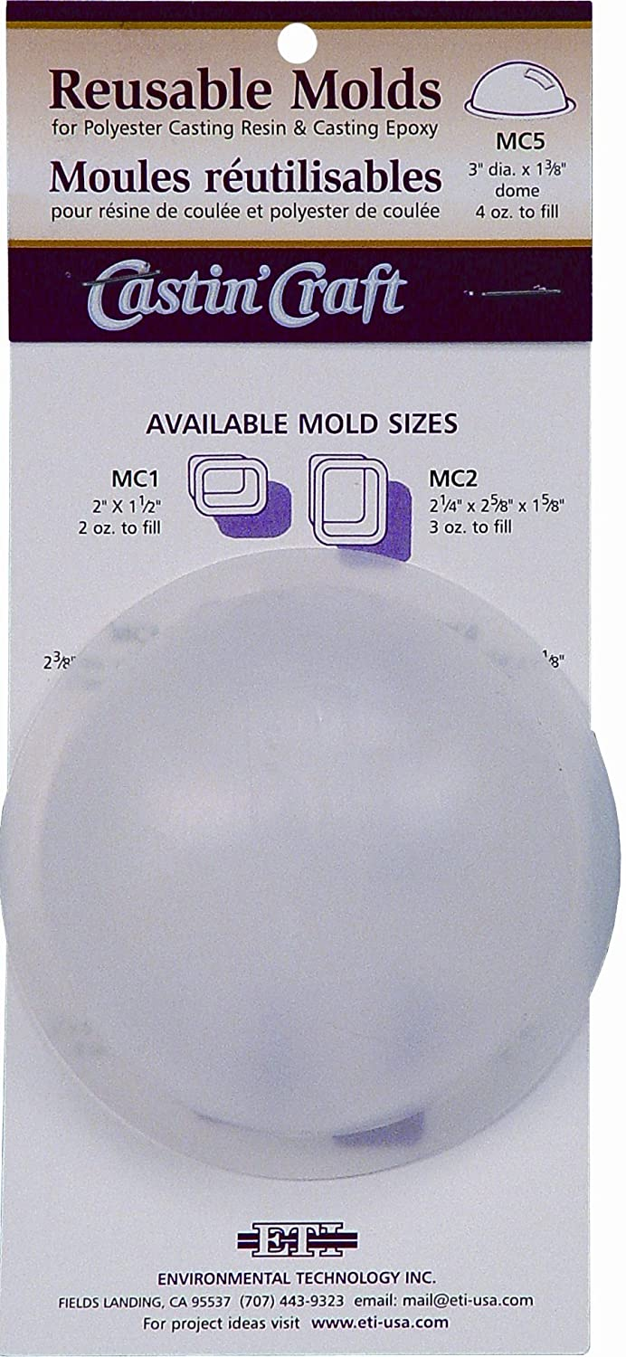 Environmental Technology 3-Inch by DIA by 1-3/8-Inch Dome Castin' Craft Carded Poly Mold, MC-5, 43877