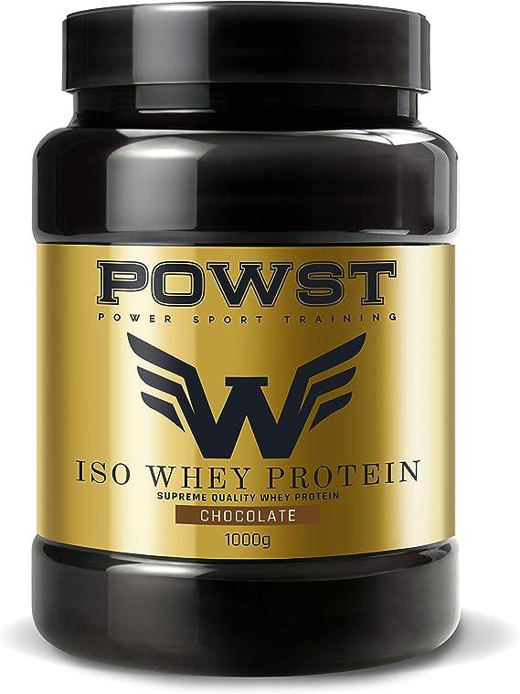 Bote Whey Protein Isolate, aislado de Proteína de Suero de Leche en polvo con BCAA aminoacidos, 1Kg (Sabor Chocolate) POWST