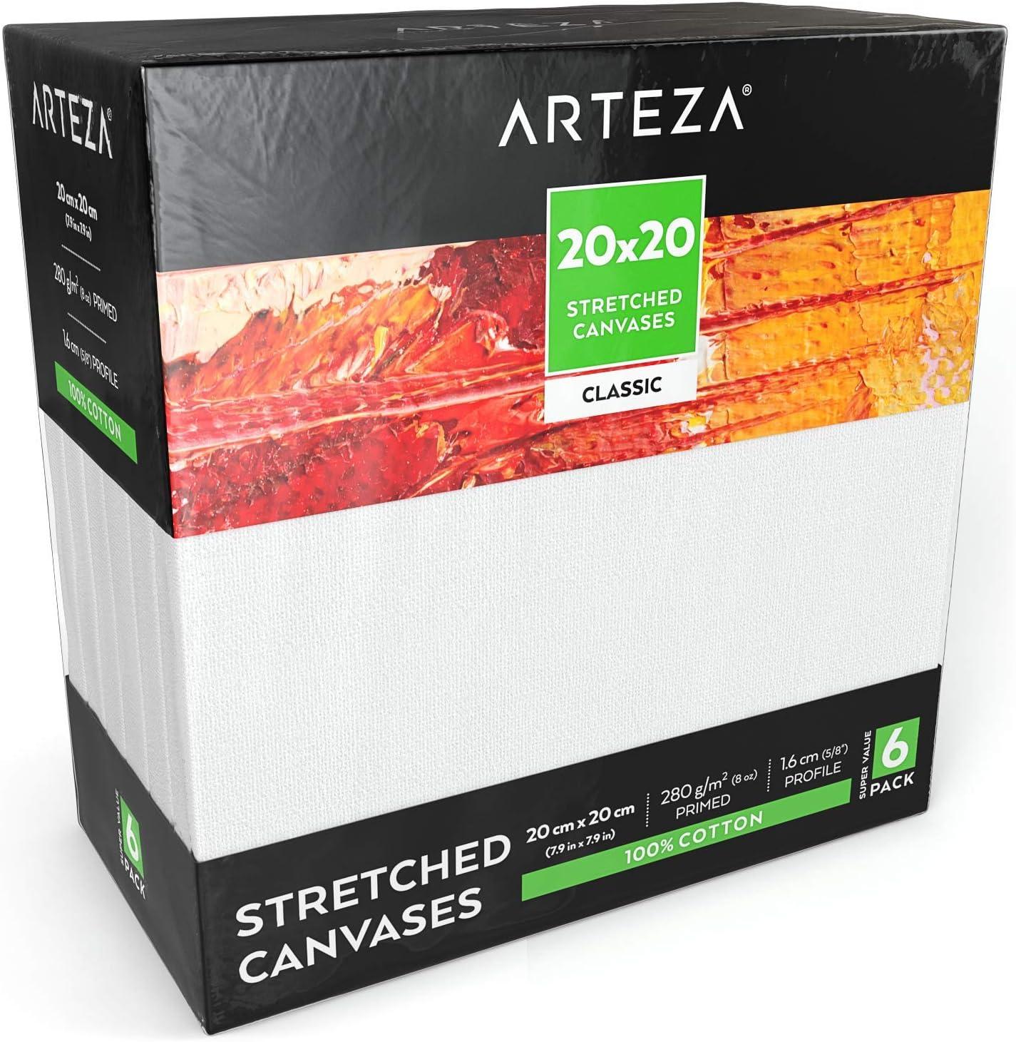 Arteza Lienzo para pintar cuadros | 20x20 cm | Pack de 6 | 100 ...