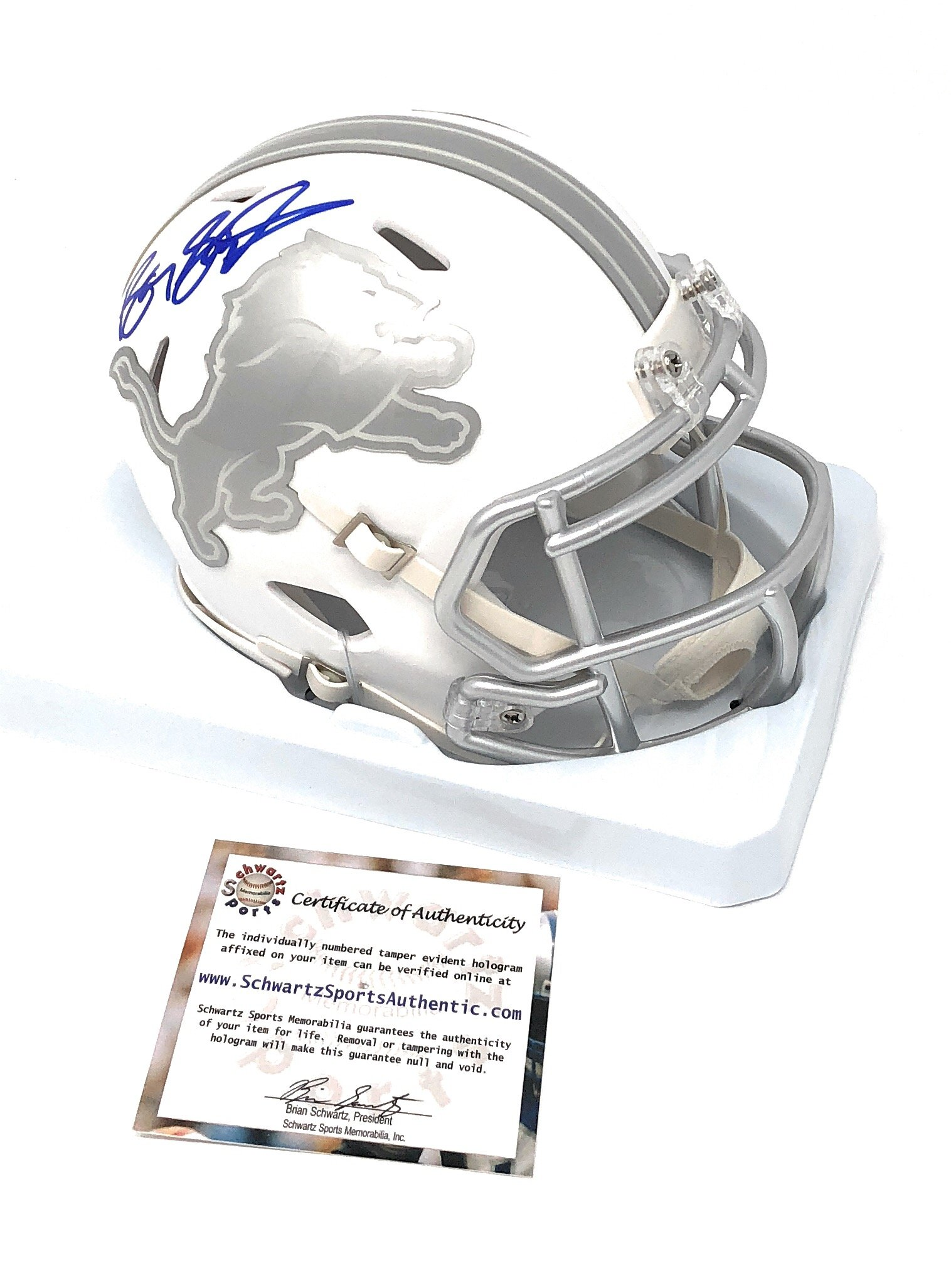Barry Sanders Detriot Lions Signed Autograph Ice Mini Helmet Schwartz Sports Certified