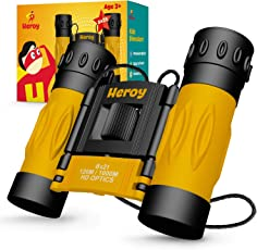 Binoculars for Kids - Toy Binoculars for Boys and Girls with Carrying Case and Neck Strap - 8X Magnification - Binoculars for Bird Watching Stargazing Hunting Hiking - Folding Children