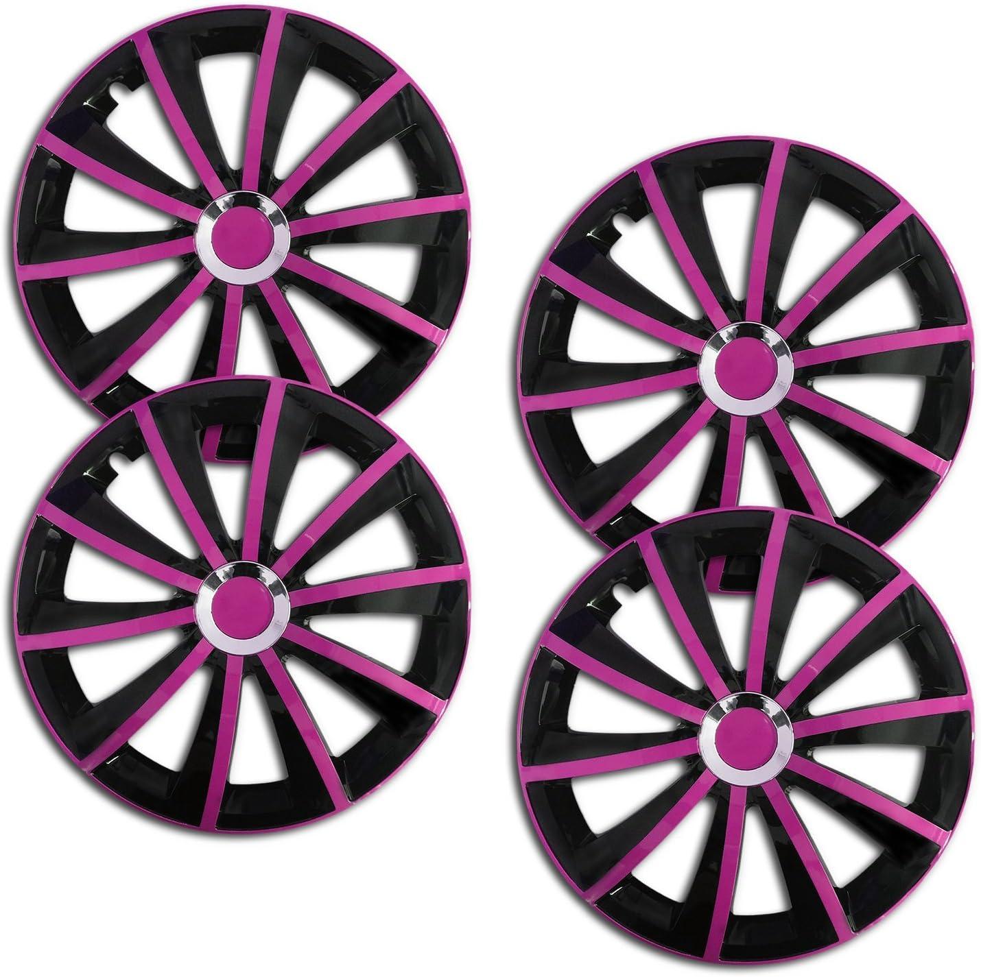 16 Zoll Rkk12 Multi Color Line Schwarz Pink Radkappen Radzierblenden 4 Stück Auto