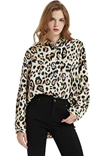 089ed32ec55d Tronjori Womens Oversized Long Sleeve Button Down Leopard Snake Zebra  Animal Print Shirt Blouse