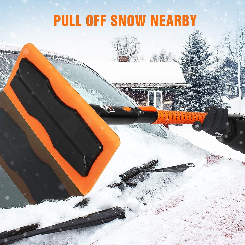 MATCC Car Snow Broom Brush Ice Scraper 51.5 Snow Removal Tool Roof Snow Mover for Auto Car SUV Truck Van Windshield Window Model MSB011