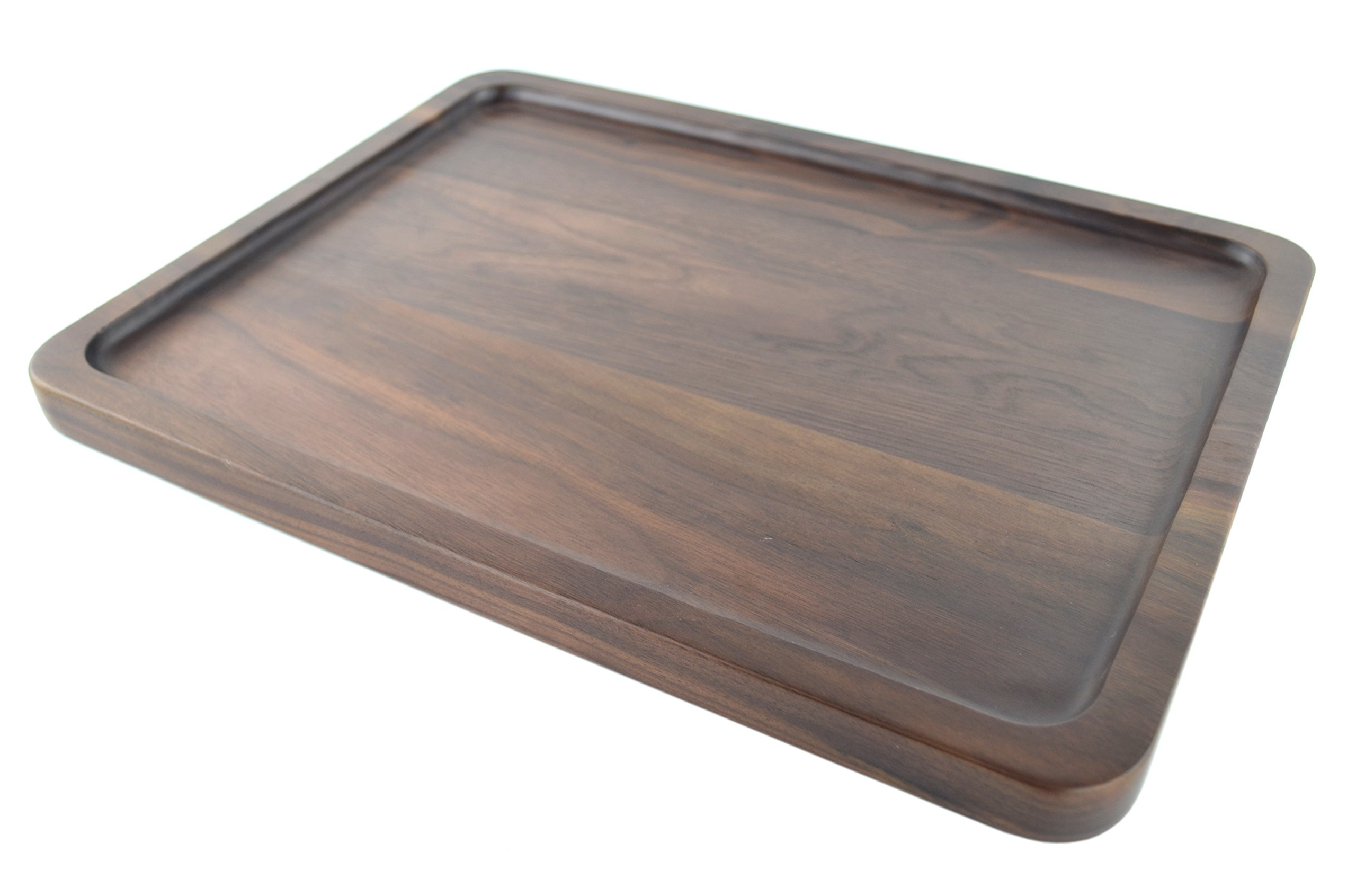 Samyo Black Walnut Solid Wood Rectangular Tableware Serving Tray Handcrafted Decorative Trays Food Tray Serving Platters with gripper for Coffee Wine Cocktail Fruit Meals (Large Size)