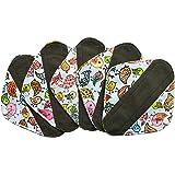 5 Pieces Charcoal Bamboo Mama Cloth/ Menstrual Pads/ Reusable Sanitary Pads (Pantyliner (8 inch), Birds)