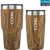 Dual Pack ICONIQ Stainless Steel Vacuum Insulated Tumbler (20 oz Oak + 30 oz Oak)
