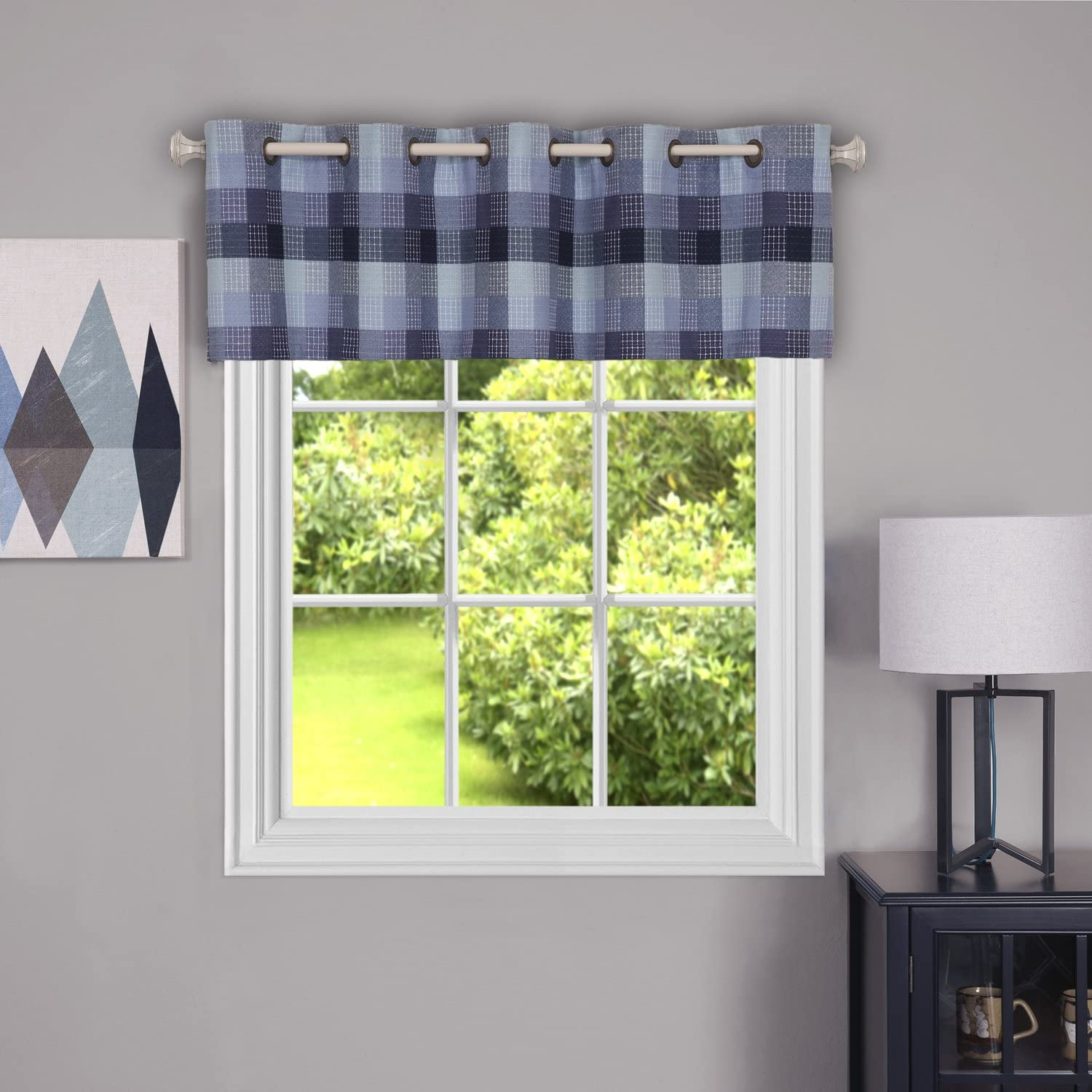 "Achim Home Furnishings, Blue Harvard Grommet Valance, 58 by 14"", 58 x 14"