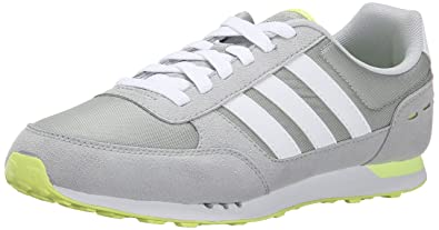 adidas Neo Women\u0027s City Racer W Running Shoe, Grey/White/Frozen Yellow,