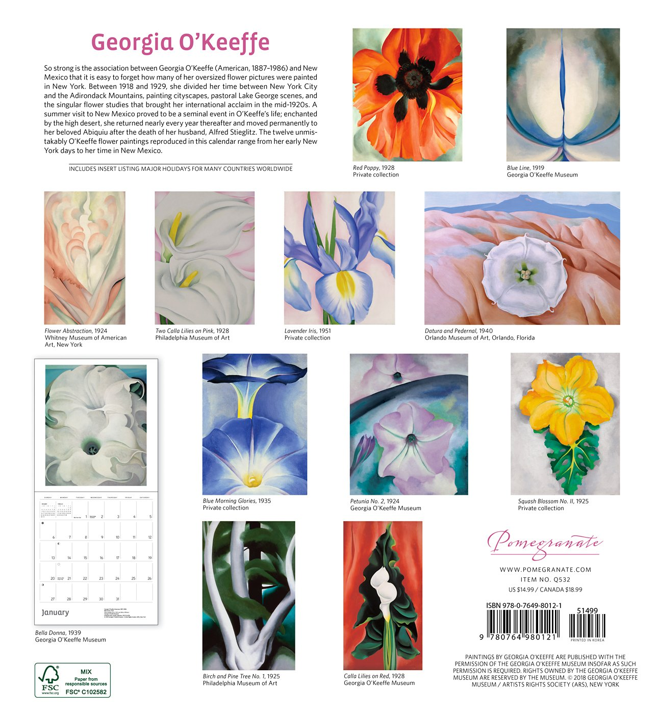 Georgia O'Keeffe 2019 Wall Calendar: Georgia O'Keeffe: 9780764980121:  Amazon.com: Books