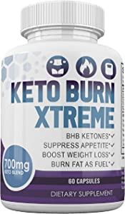 Keto Burn Xtreme - BHB Ketones - Suppress Appetite - Boost Weight Loss - Burn Fat As Fuel - 700mg Keto Blend - 30 Day Supply