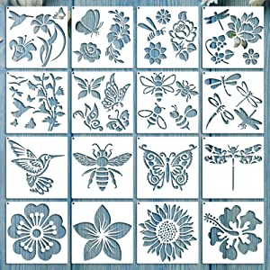 16 Pieces Spring Stencil Flower Butterfly Stencil Template Bird Bee Drawing Template Reusable Painting Stencil and Metal Open Ring for Painting on Wood Wall Home Decor