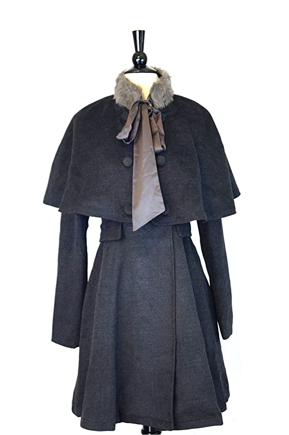 Victorian Jacket, Coat, Ladies Suits | Edwardian, 1910s, WW1 Sherlock Coat with Removable Capelet and Faux Fur $118.00 AT vintagedancer.com