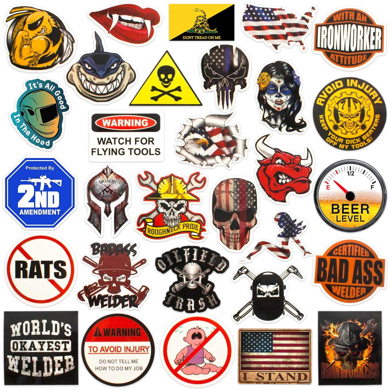 Hard hat stickers big 30 pack badass american patriotic accessories for helmet