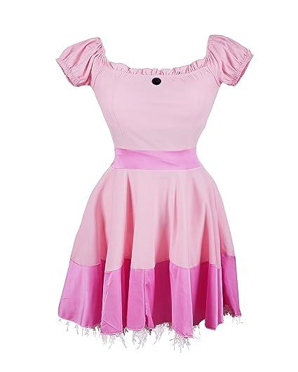 Disfraz de Emmas Wardrobe de la Princesa Peach - Incluye vestido de princesa rosa, Tiara y par de largos guantes blancos - Traje de la Bella ...
