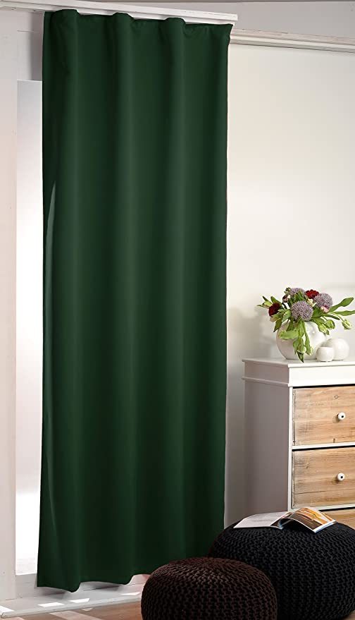 Modern Gently Falling Supersoft Blackout Curtain Thermal Curtains DARK GREEN SHADE In