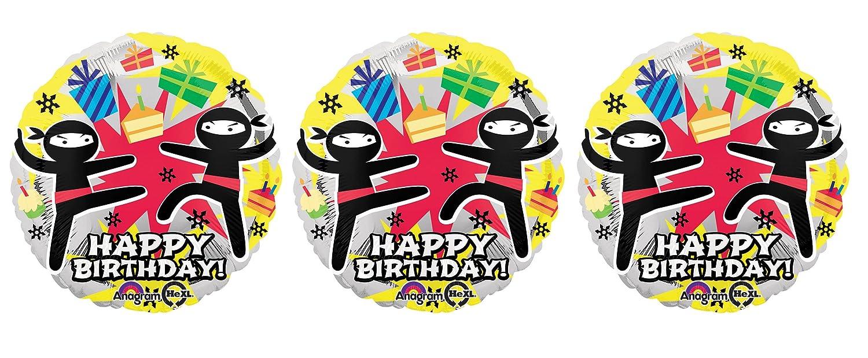 Amazon.com: 3 Ninja Happy Birthday Foil Balloons: Toys & Games