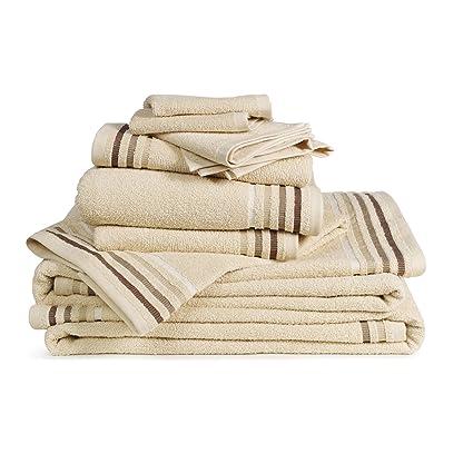 Bassetti Juego de Toalla de Lujo, 100% algodón, 10 Unidades (Beige)